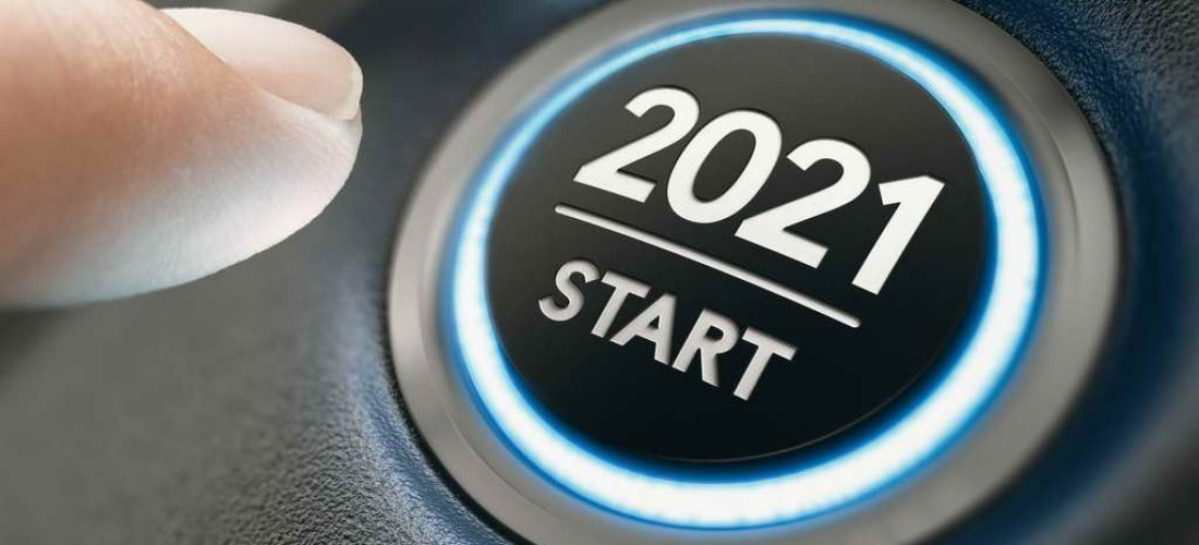 Finger about to press a car ignition button with the text 2021 start. Year two thousand and twenty one concept. Composite image between a hand photography and a 3D background.